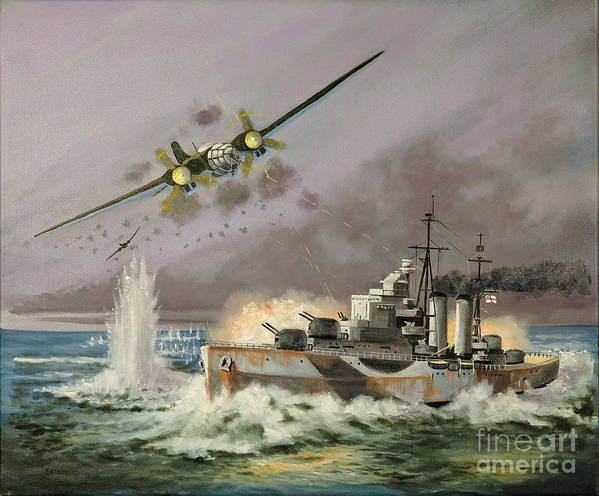 Ships That Never Were Art Print featuring the painting Hms Ulysses Attacked By Heinkel IIis Off North Cape by Glenn Secrest