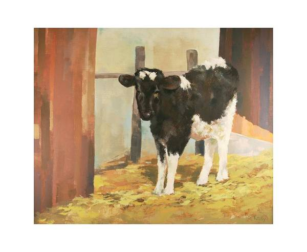 Cow Art Print featuring the painting Holstein Calf by Robert Tutsky