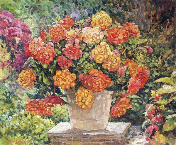 Floral Art Print featuring the painting Hot Begonia by Andrey Soldatenko