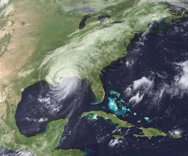 History Art Print featuring the photograph Hurricane Katrina Over Southeast by Everett