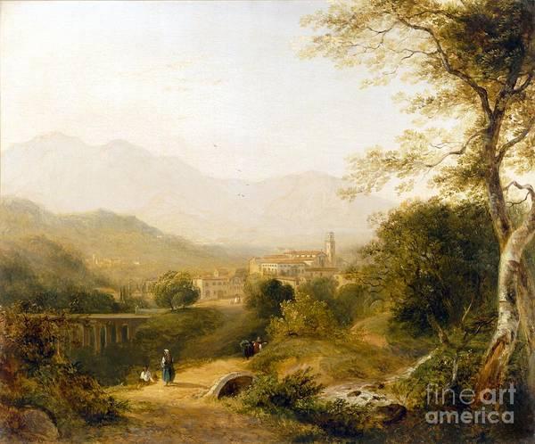 Italian; Landscape; Rural; Countryside; Village; Town; Bridge; Architecture; Stream; Figures; Picturesque; Tree; Trees Art Print featuring the painting Italian Landscape by Joseph William Allen