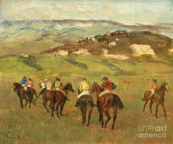 Jockeys Print featuring the painting Jockeys On Horseback Before Distant Hills by Edgar Degas