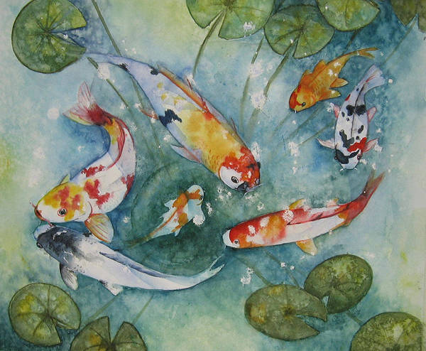 Koi Art Print featuring the painting Koi With Lilies by Gina Hall