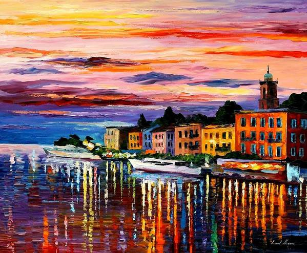 Cityscape Art Print featuring the painting Lake Como - Bellagio by Leonid Afremov