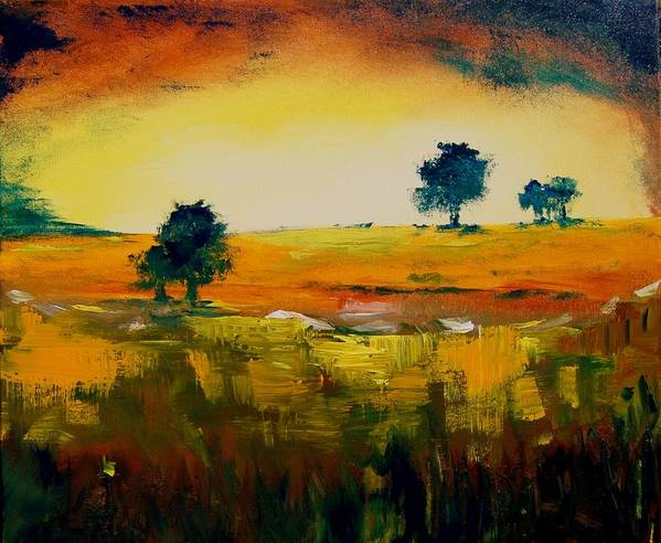 Pond Art Print featuring the painting Landscape 22 by Veronique Radelet