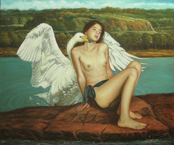 Leda And The Swan Art Print featuring the painting Leda And The Swan - Passionate by Giovanni Rapiti