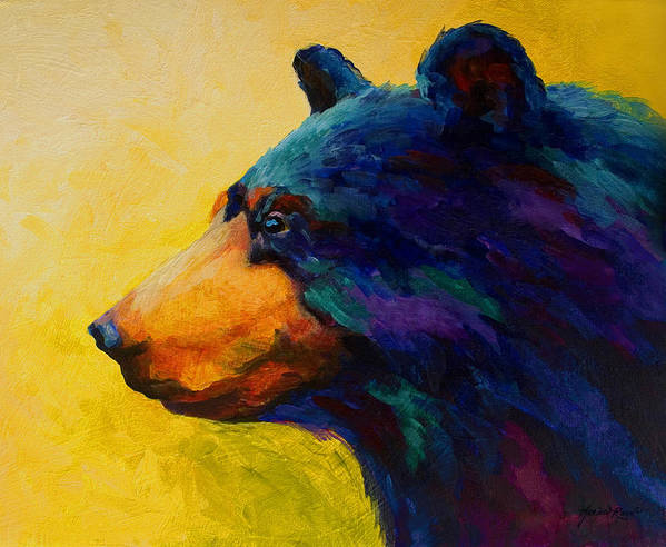 Bear Art Print featuring the painting Looking On II - Black Bear by Marion Rose
