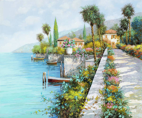 Lake Art Print featuring the painting Lungolago by Guido Borelli