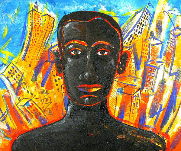 Man Art Print featuring the painting Man And The City by Rollin Kocsis