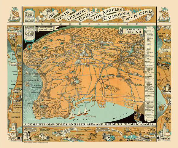 graphic about Printable Map of Los Angeles known as Map Of Los Angeles 1932 Artwork Print