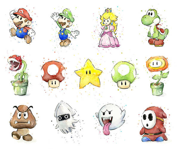 Mario Art Print featuring the painting Mario Characters In Watercolor by Olga Shvartsur