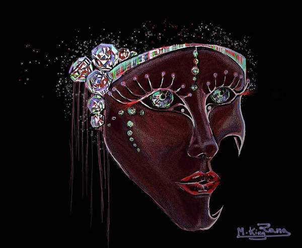 Mask Art Print featuring the digital art Mask Crystal by Rana King