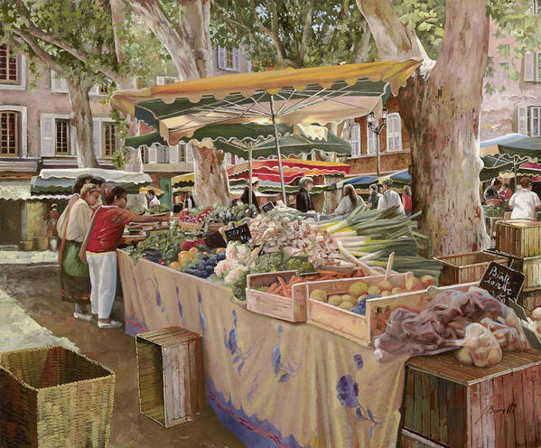 Market Print featuring the painting Mercato Provenzale by Guido Borelli