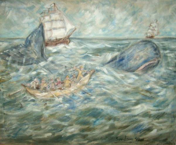 Seascape Whale Ship Ocean Whaleboat Art Print featuring the painting Mobey Dick by Joseph Sandora Jr