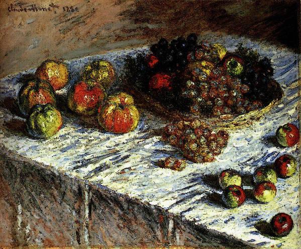 Monet Art Print featuring the digital art Monet Claude Still Life Apples And Grapes by PixBreak Art