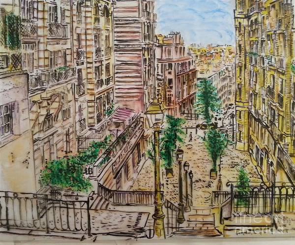City Scape Art Print featuring the painting Montmarter  by Eli Gross