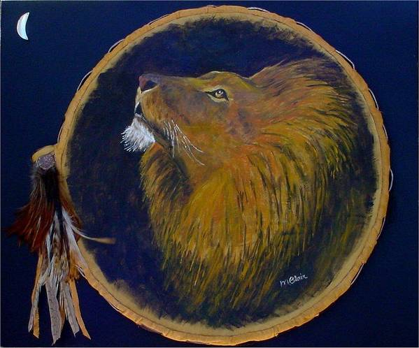 Lion. Wildlife Art Print featuring the painting Moon Raker by Merle Blair