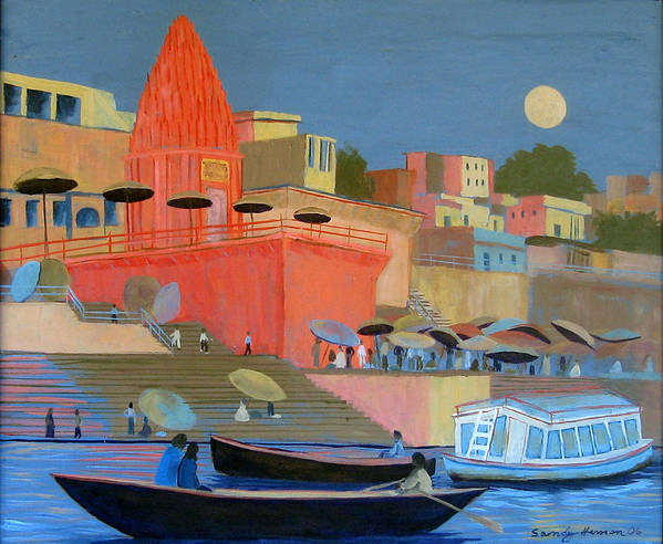 Moonlight Art Print featuring the painting Moonlight On The Ghats by Art Nomad Sandra Hansen