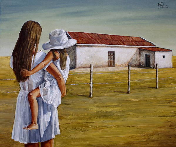 Mother And Daughter Art Print featuring the painting Mother And Daughter Iv by Natalia Tejera