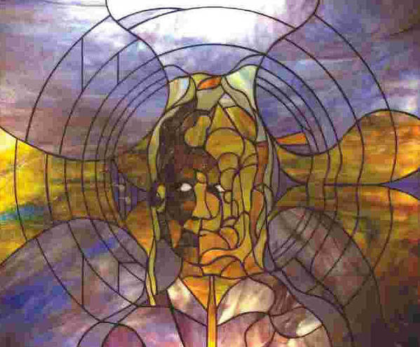 Portrait Art Print featuring the glass art Music by Greg Gierlowski