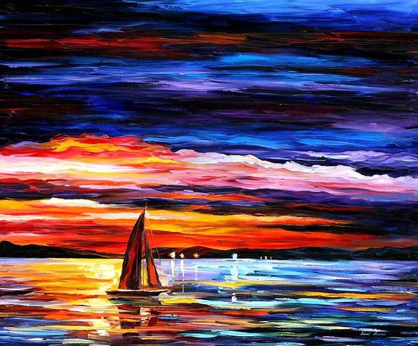 Seascape Art Print featuring the painting Night Sea by Leonid Afremov