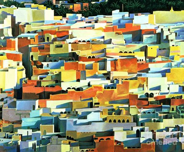 Town; Urban; Flat Roofs; Roof; Africa; Moorish Architecture; African; Townscape; North Africa; Colorful; House; Houses Print featuring the painting North African Townscape by Robert Tyndall