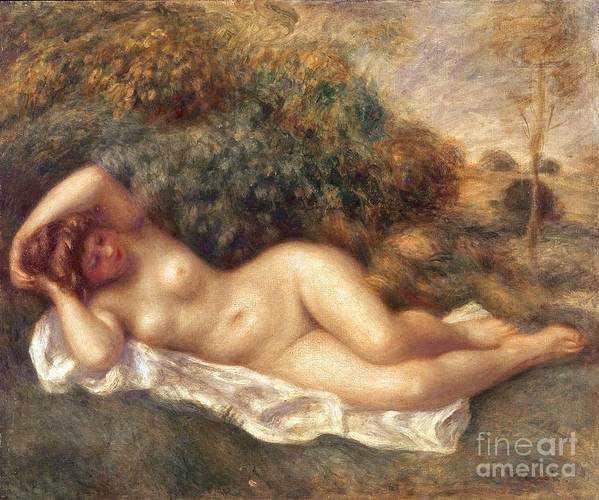 Nude Art Print featuring the painting Nude by Pierre Auguste Renoir
