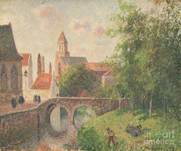 Old Bridge Art Print featuring the painting Old Bridge In Bruges by Camille Pissarro