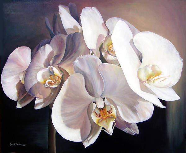 Floral Painting Art Print featuring the painting Orchidee by Muriel Dolemieux