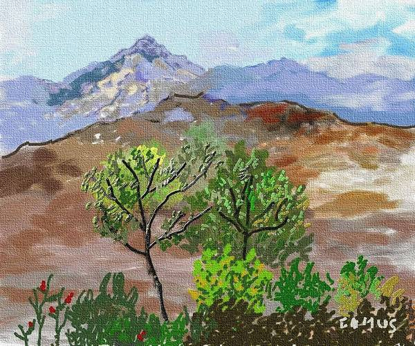 Art Art Print featuring the painting Paisaje- Chile-cerro Campana by Carlos Camus