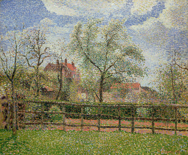 Pear Trees And Flowers At Eragny Art Print featuring the painting Pear Trees And Flowers At Eragny by Camille Pissarro