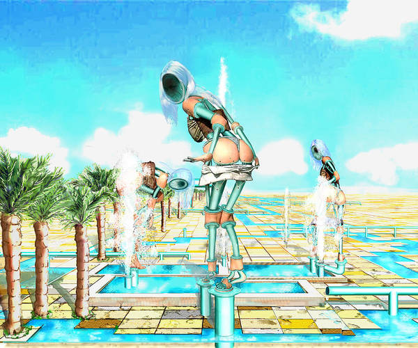 Pipe Figures Creating On Oasis Art Print featuring the digital art Pipe Human Figures Creating On Oasis Number One by Leo Malboeuf