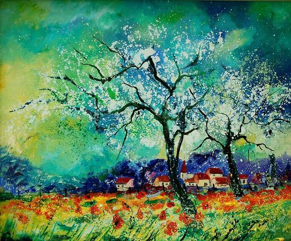 Landscape Art Print featuring the painting Poppies And Appletrees In Blossom by Pol Ledent