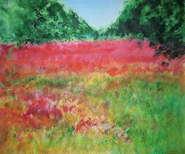 Lanscape Art Print featuring the painting Poppy Field by Lizzy Forrester