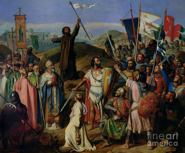 Procession Art Print featuring the painting Procession Of Crusaders Around Jerusalem by Jean Victor Schnetz