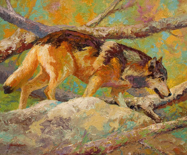 Wolf Art Print featuring the painting Prowler - Grey Wolf by Marion Rose