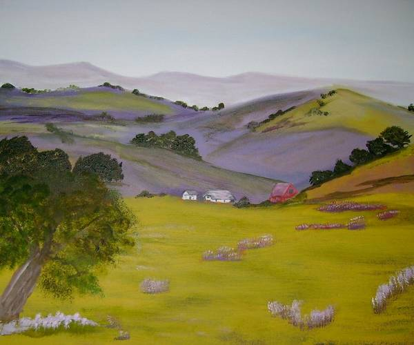Landscape Art Print featuring the painting Purple Hills by Dottie Briggs