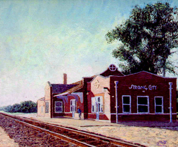 Original Oil On Wood Panel Print featuring the painting Railroad Station by Stan Hamilton