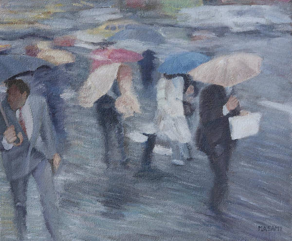 People Art Print featuring the painting Rainy Day by Masami Iida