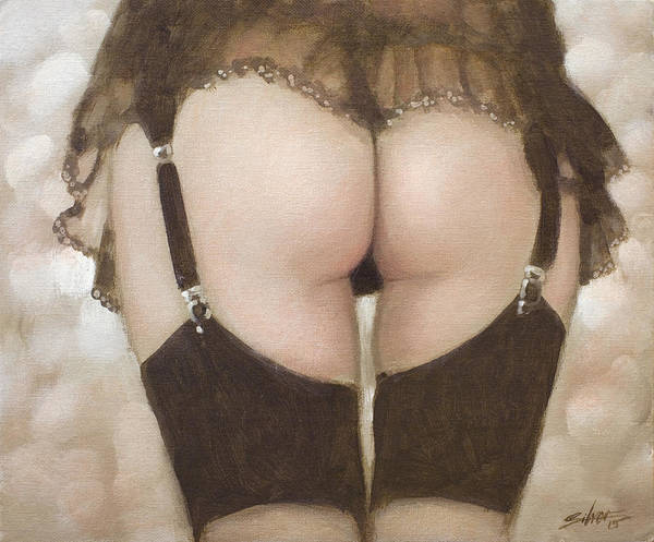 Sensual Art Print featuring the painting Rear View I by John Silver
