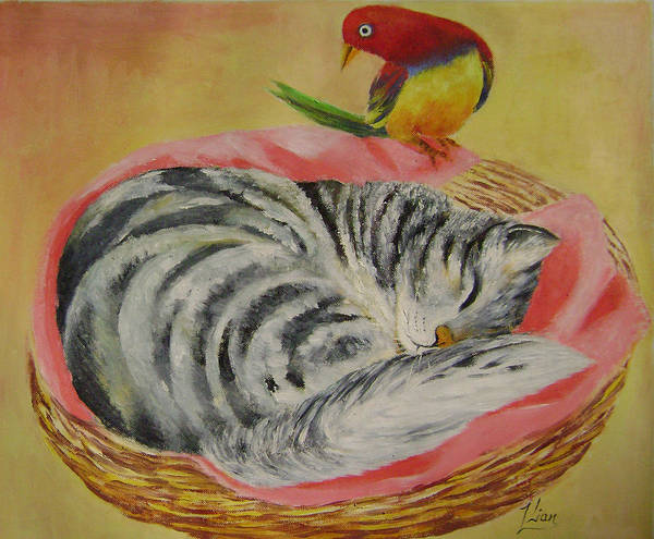 Naive Art Print featuring the painting Red Bird by Lian Zhen