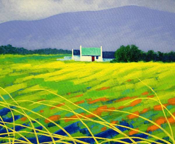 Landscape Art Print featuring the painting Red Door County Wicklow by John Nolan