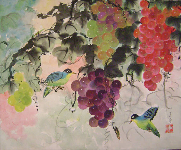 Water Colour Art Print featuring the painting Red Grapes And Blue Birds by Lian Zhen