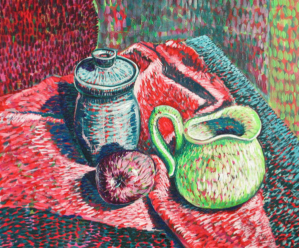 Still Life Art Print featuring the painting Richards Pitcher In Green by Rollin Kocsis