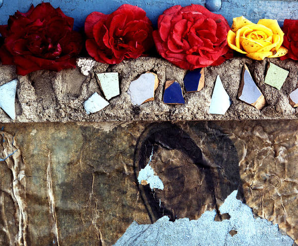 Virgin_mary Art Print featuring the photograph Roses On A Shrine by Lawrence Costales