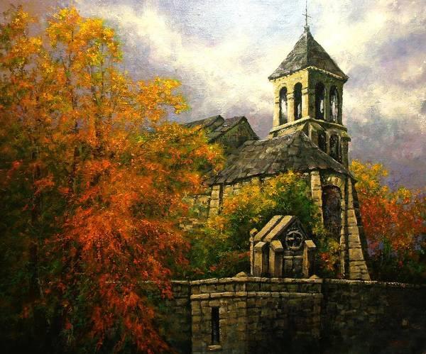 Paris Art Print featuring the painting Sacred Heart Chapel Paris by Jim Gola