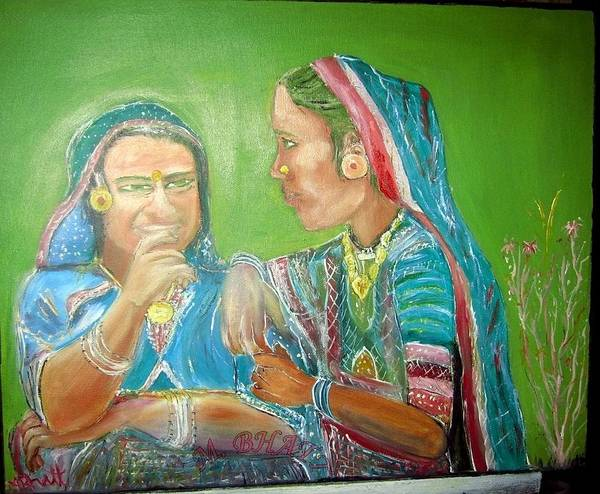 Hinduism Art Print featuring the painting Sahiyer Friends by M bhatt