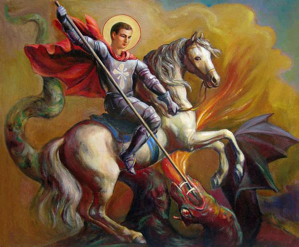 Saint George Art Print featuring the painting Saint George And The Dragon by Svitozar Nenyuk