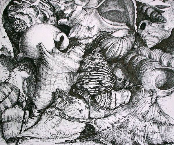 Black And White Art Print featuring the painting Shells by Anne Rhodes