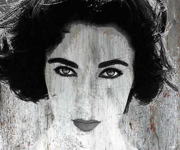 Liz Taylor Art Print featuring the mixed media Silver Screen Liz Taylor by Tony Rubino